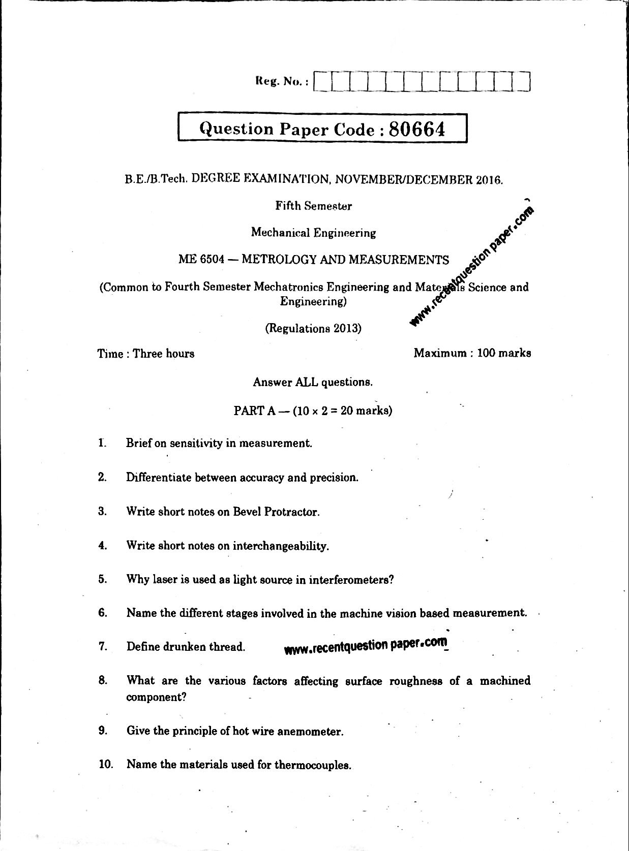ME6504 METROLOGY AND MEASUREMENTS 0 - Recent Question Paper