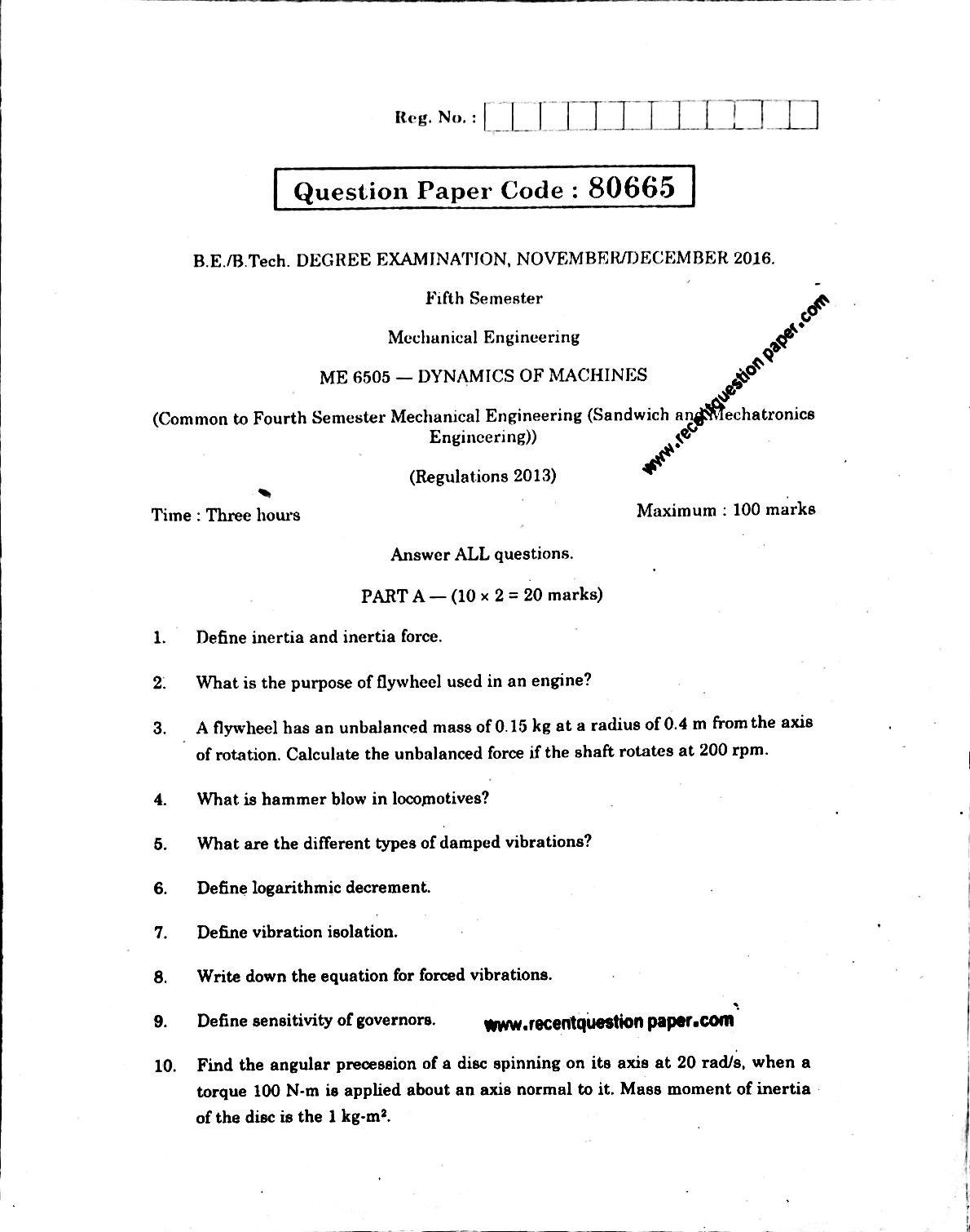 ME6505 Dynamics Of Machines Anna University Question paper Nov/Dec 2016 Pdf