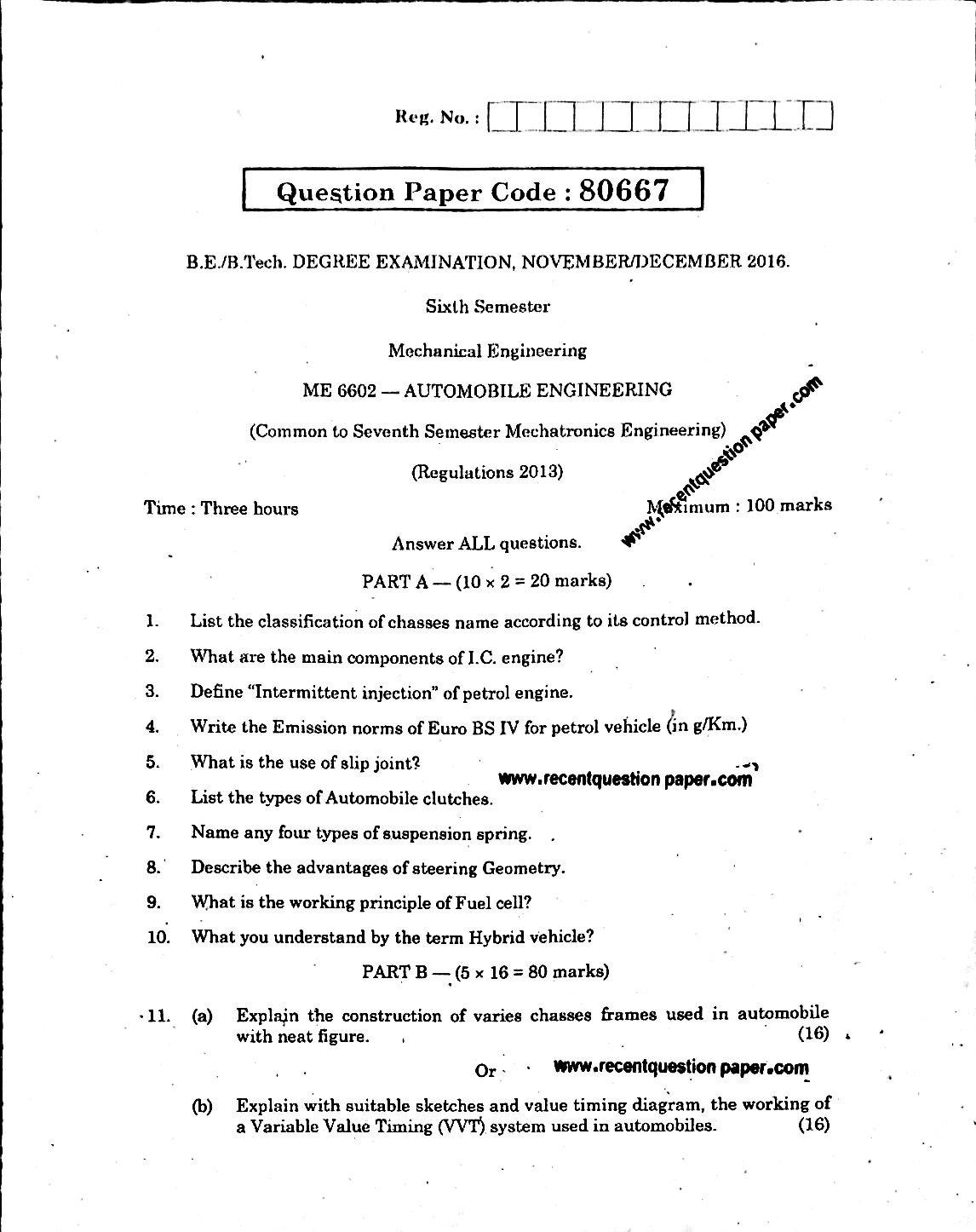 ME6602 Automobile Engineering Anna University Question paper Nov/Dec 2016