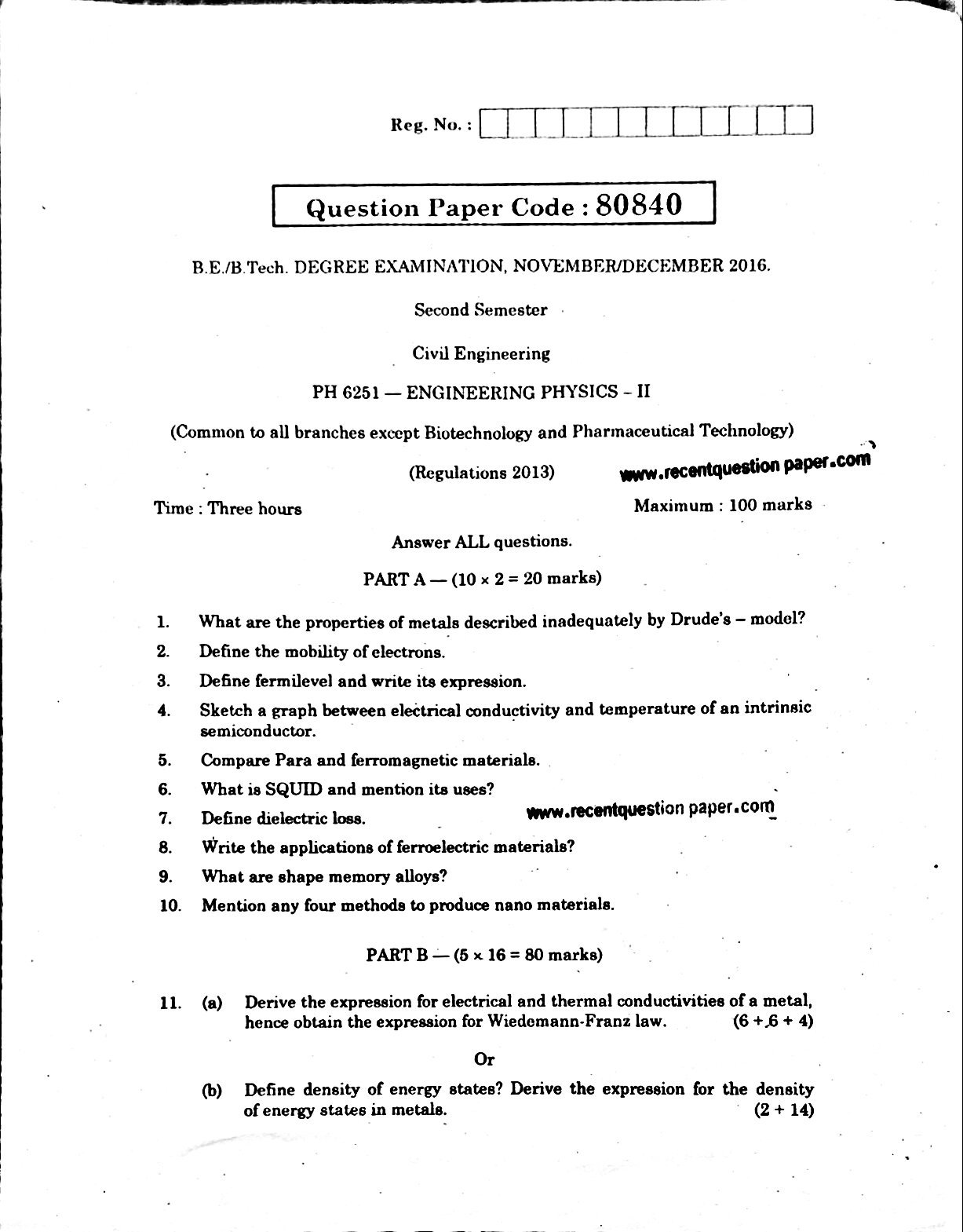 PH6251 ENGINEERING PHYSICS-II 0 - Recent Question Paper