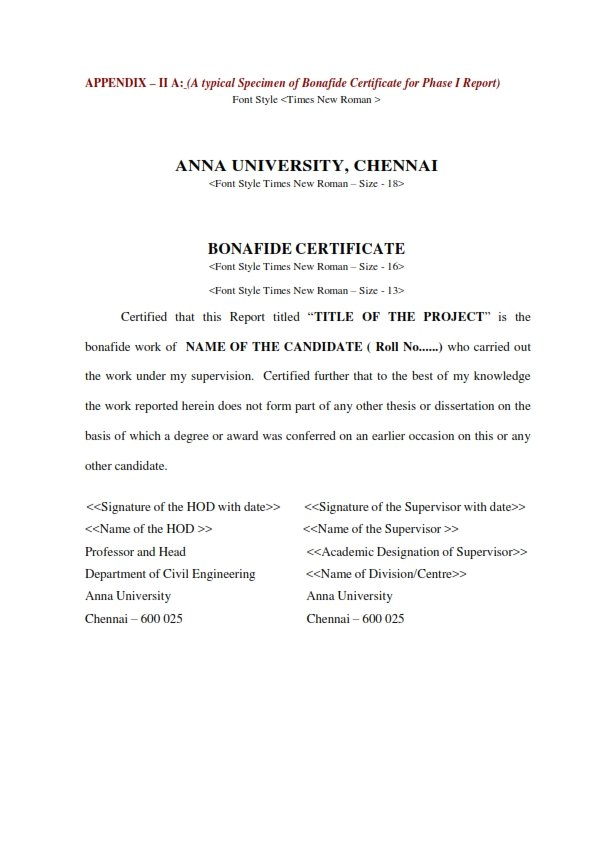Anna University Project Report Format For Ug And Pg