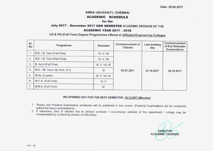 Academic scheduled 2017-2018 odd semester