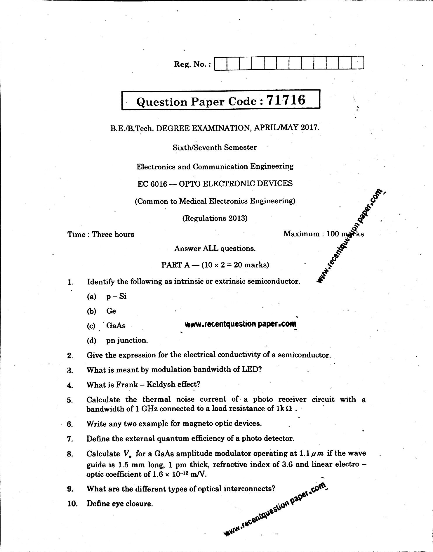 Ec6016 Opto Electronic Devices April May 2017 Anna University Circuits Questions And Answers Pdf Search By Students