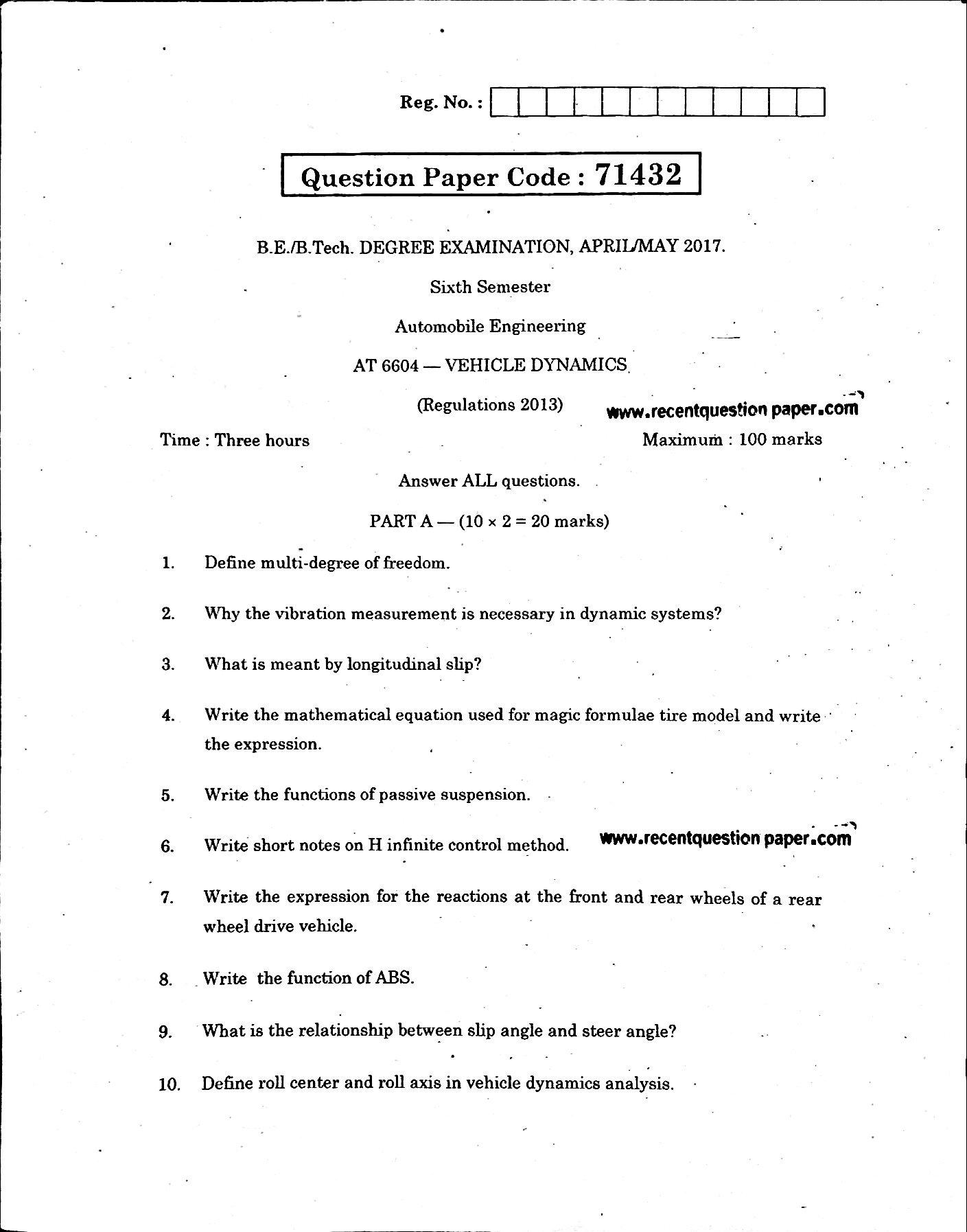 AT6604 Vehicle Dynamics AprilMay 2017 - Recent Question Paper