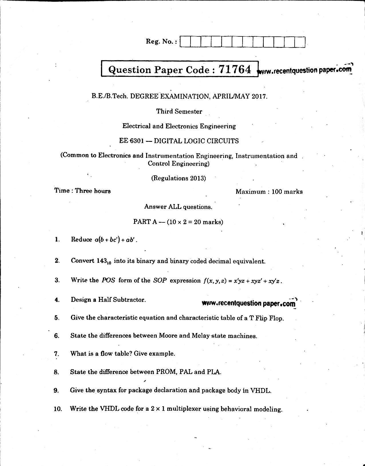 Ee6301 Digital Logic Circuits Aprilmay 2017 Recent Question Paper Electronic Circuit And Design