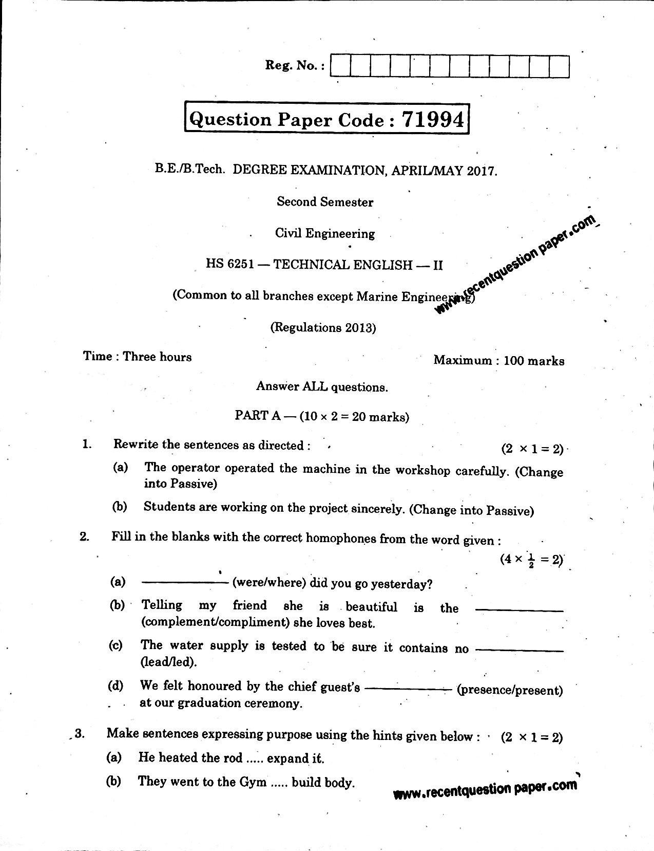 HS6251 Technical English-II April/May 2017 Anna University