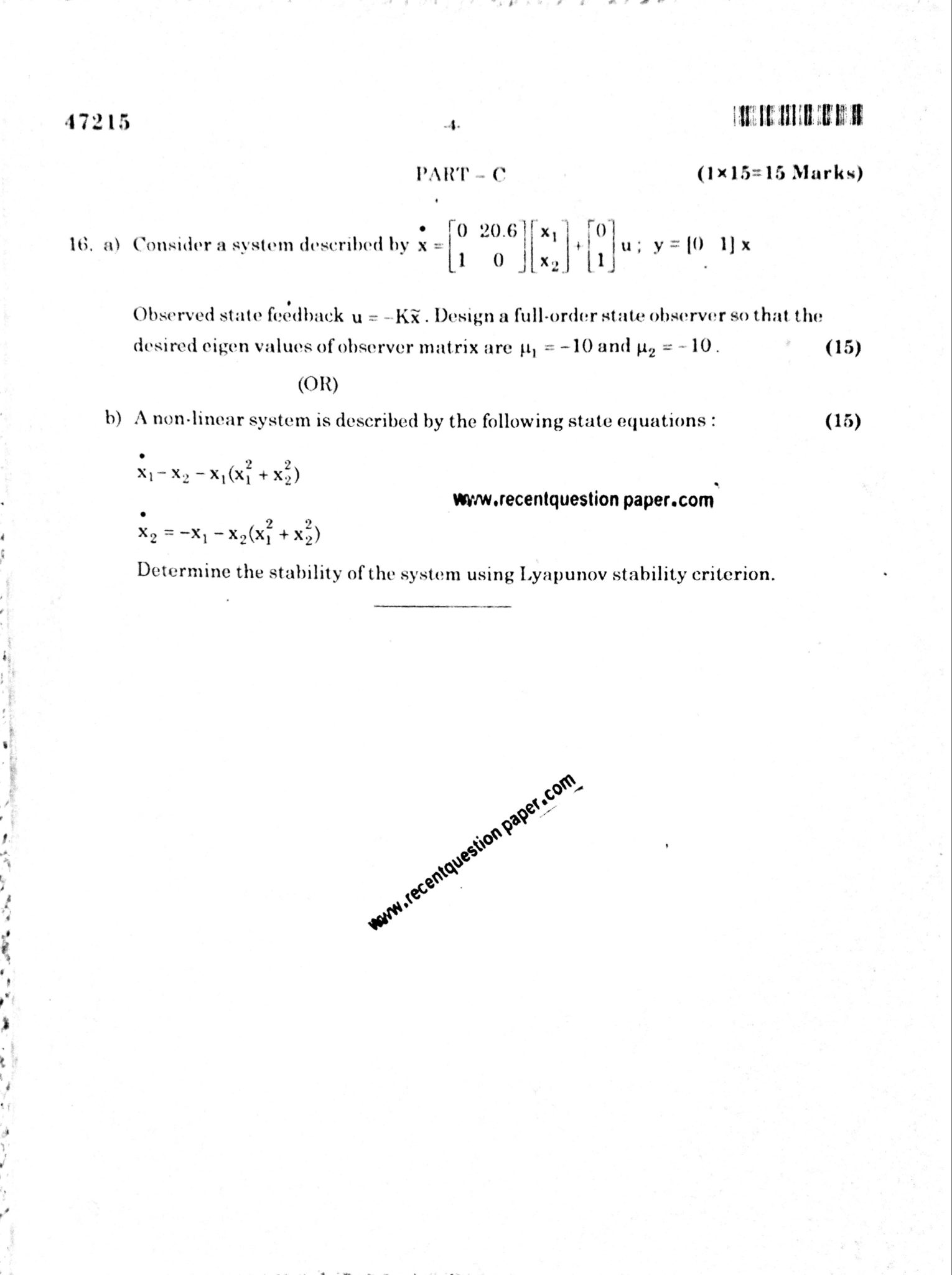 In5152 System Theory Jan 2018 Anna University Question Paper