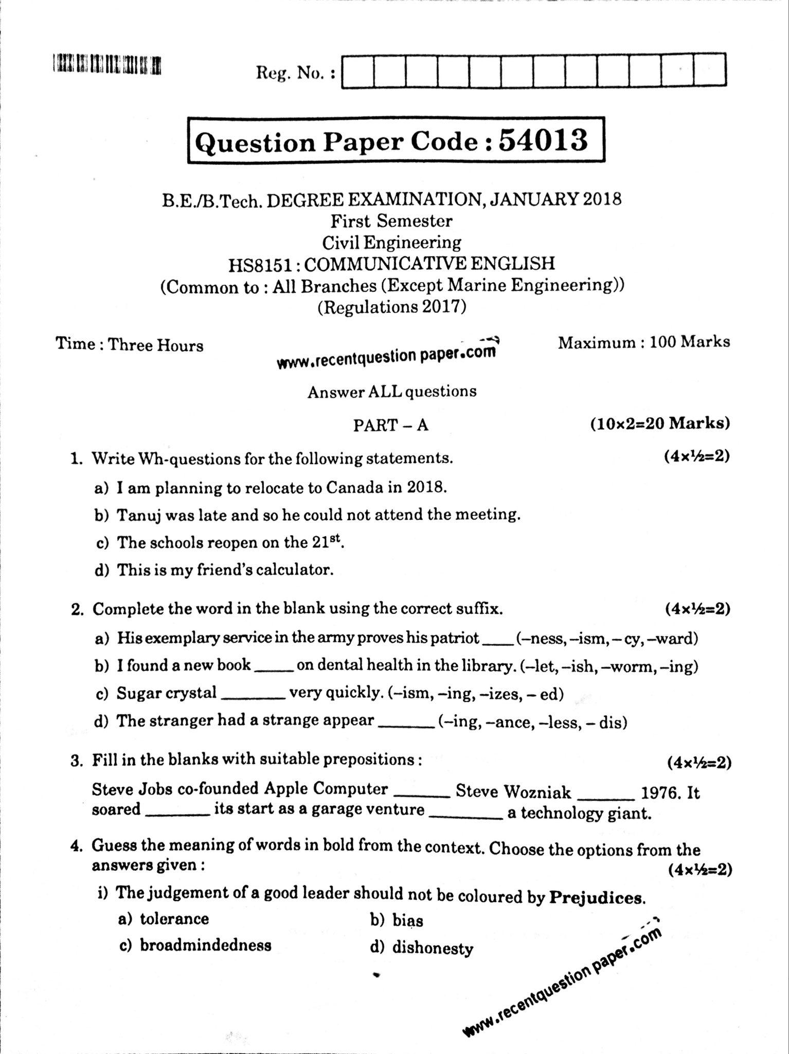 HS8151 Communicative English Jan 2018 Anna University