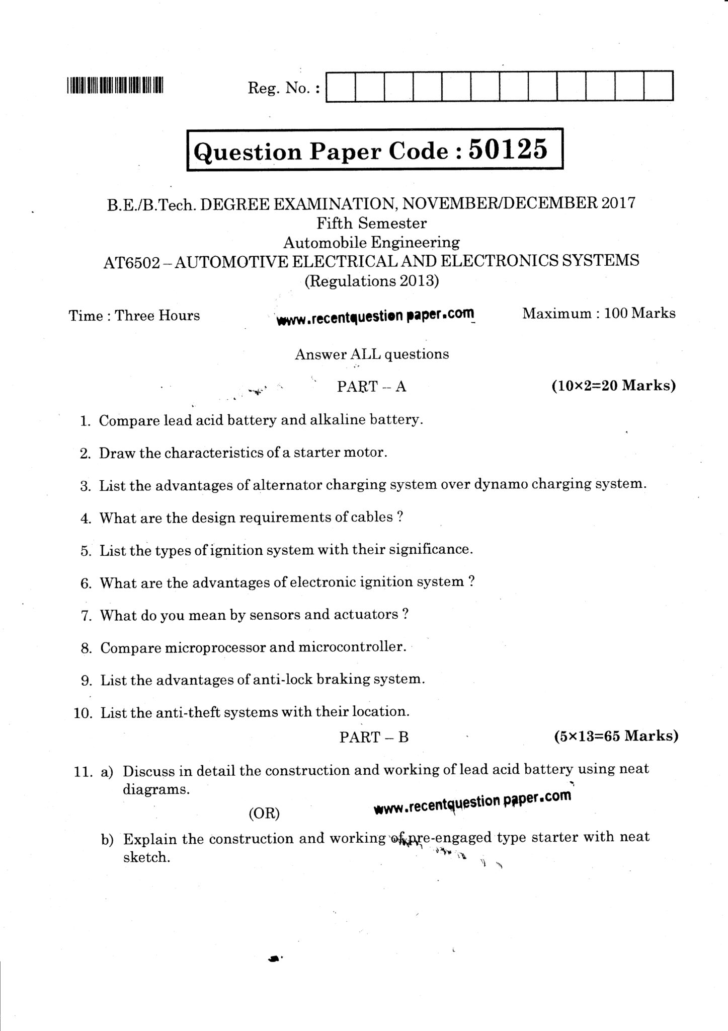 AT6502 Automotive Electrical And Electronics Systems Question Paper