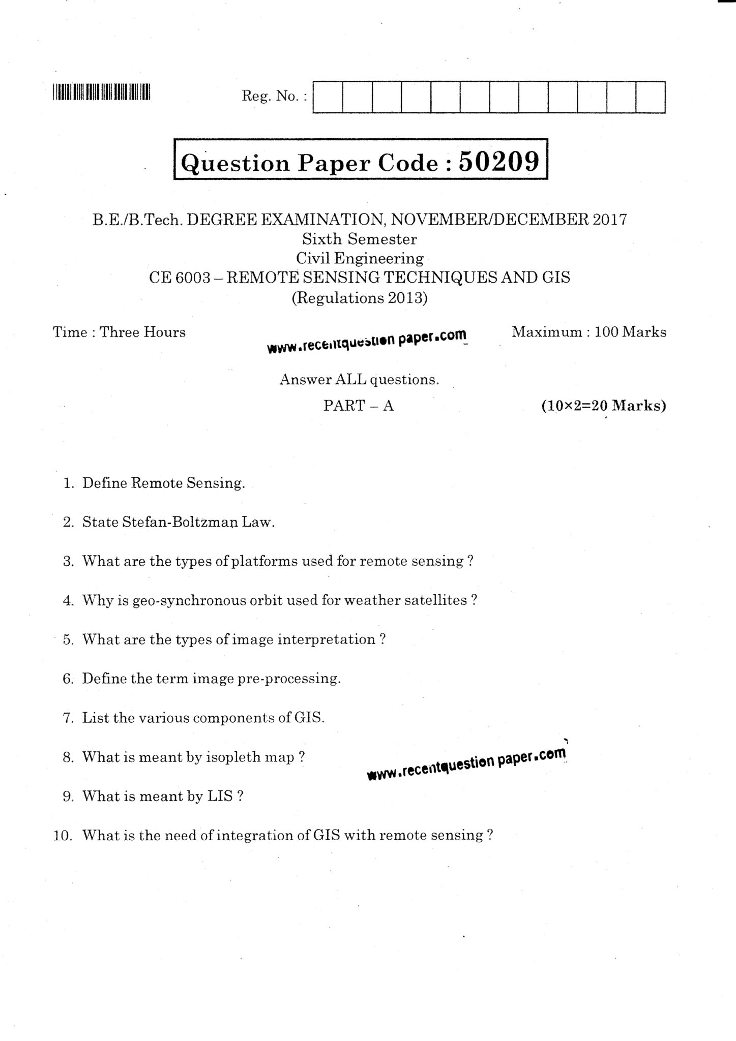CE6003 Remote Sensing Techniques And GIS Question Paper Nov