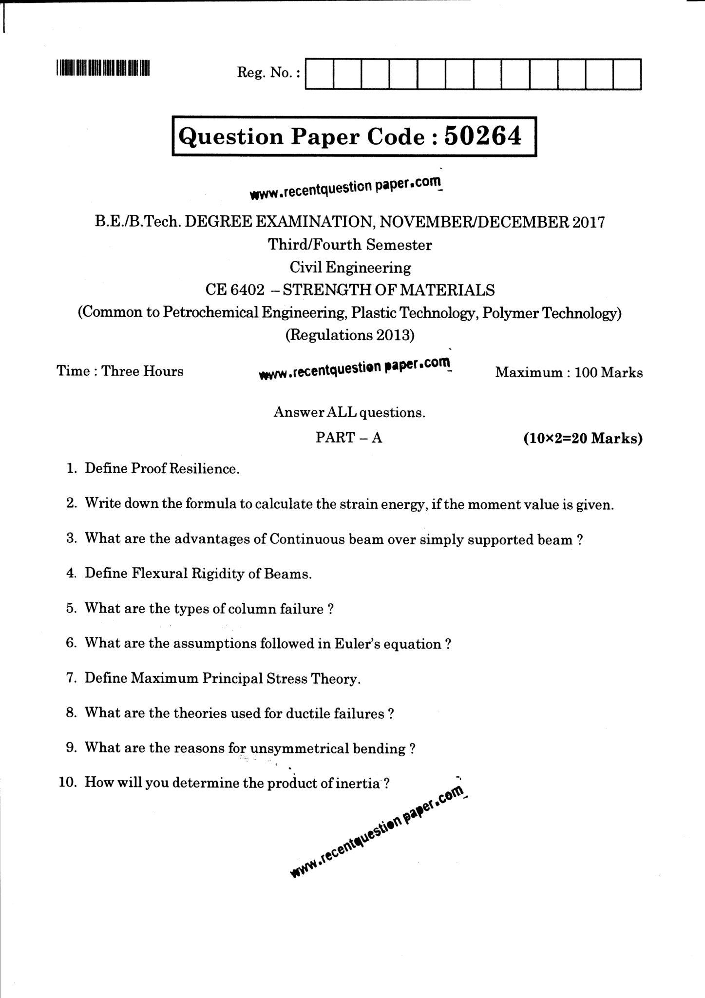 CE6402 Strength Of Materials Question Paper Nov/Dec 2017