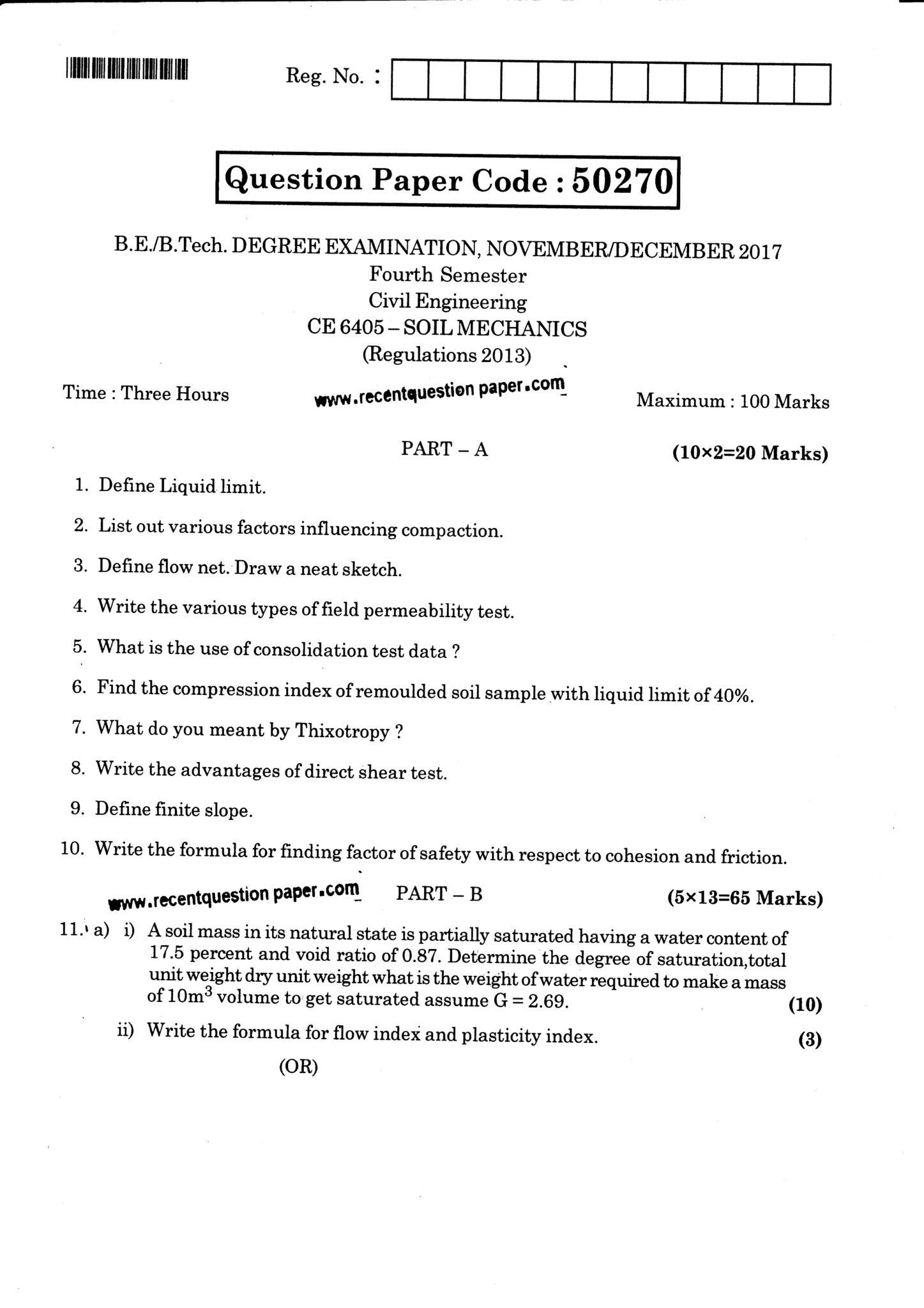 CE6405 Soil Mechanics Nov/Dec 2017 Anna University Question