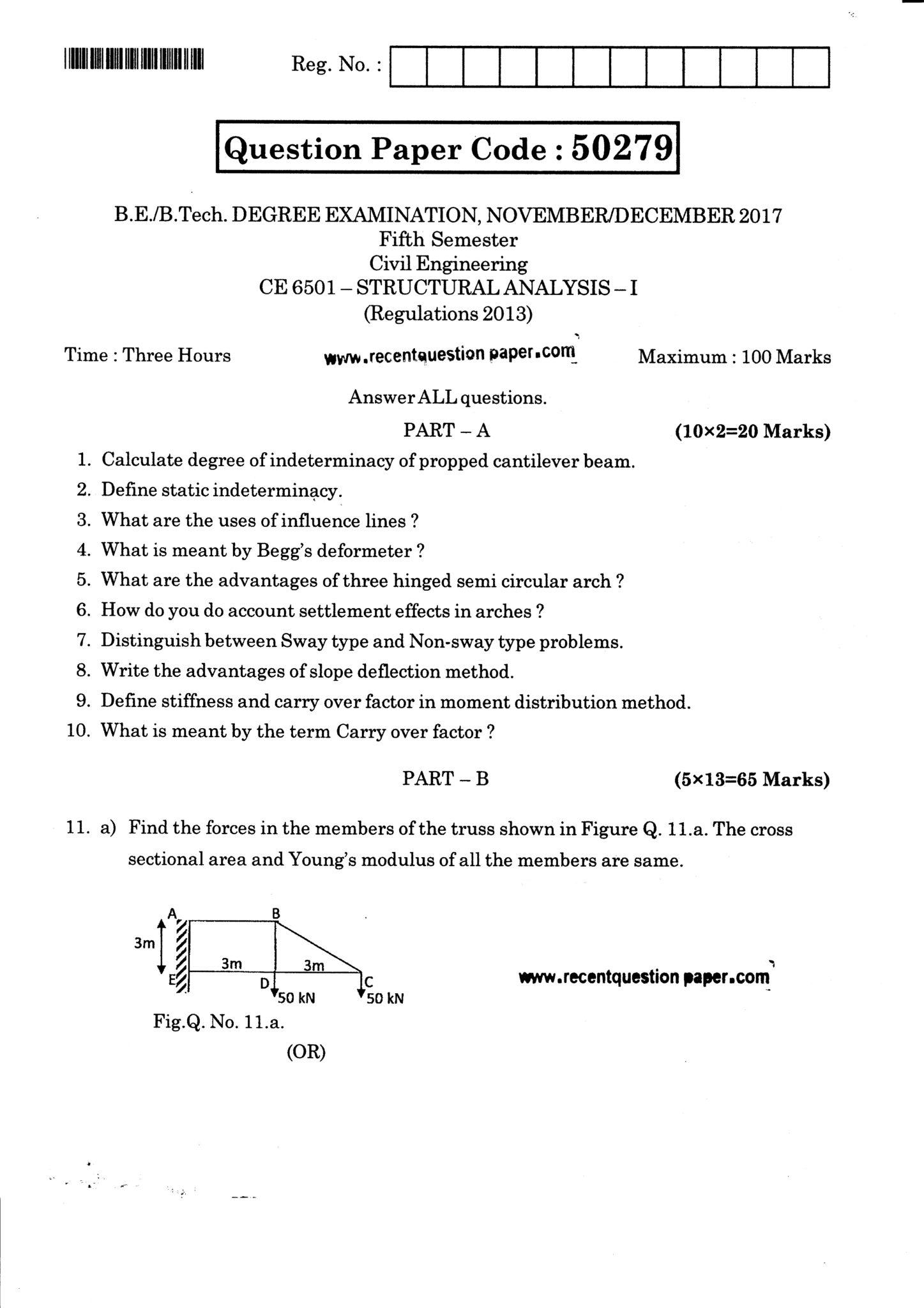 CE6501 Structural Analysis-I Question Paper Nov/Dec 2017