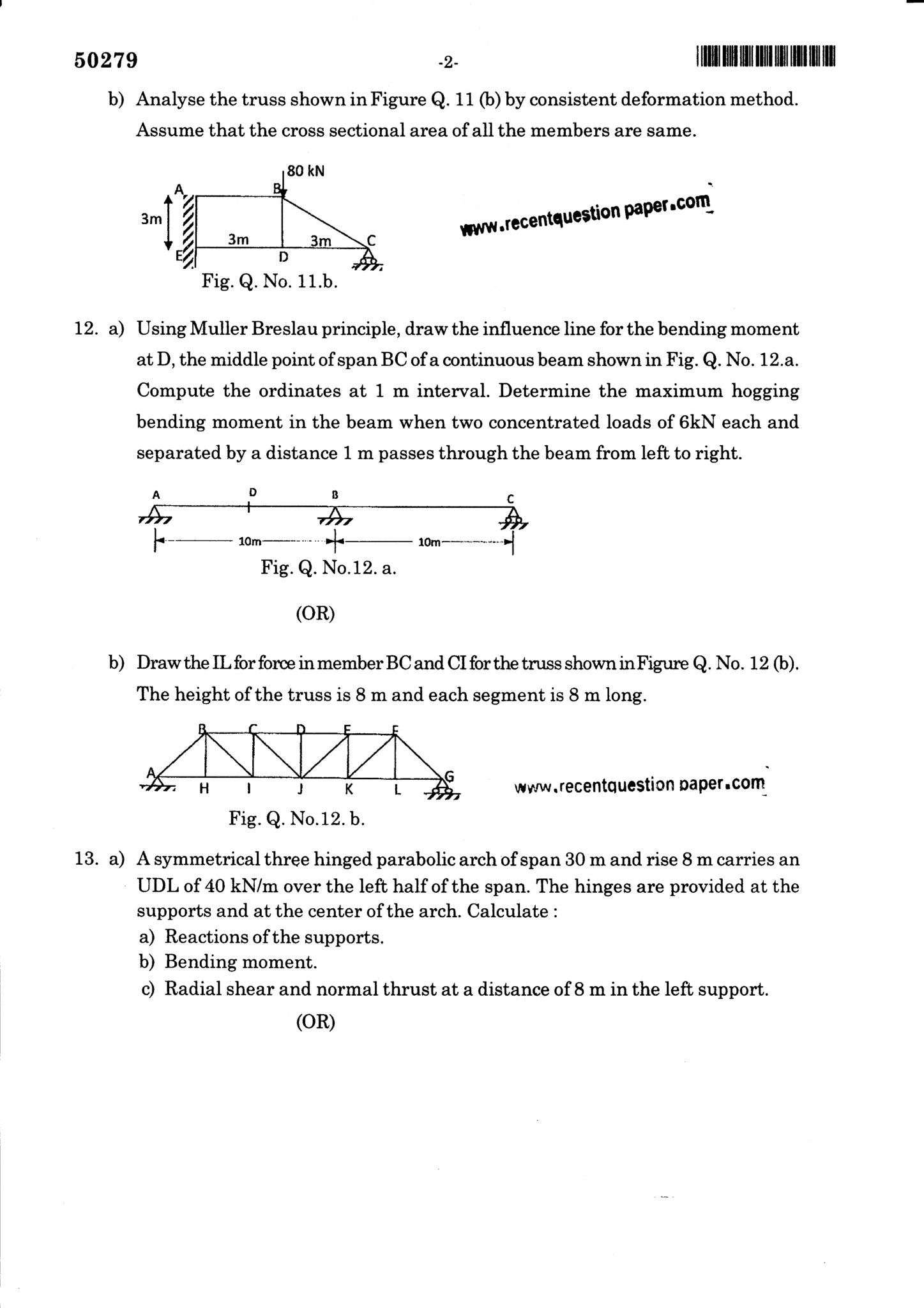 CE6501 Structural Analysis-I Question Paper Nov/Dec 2017
