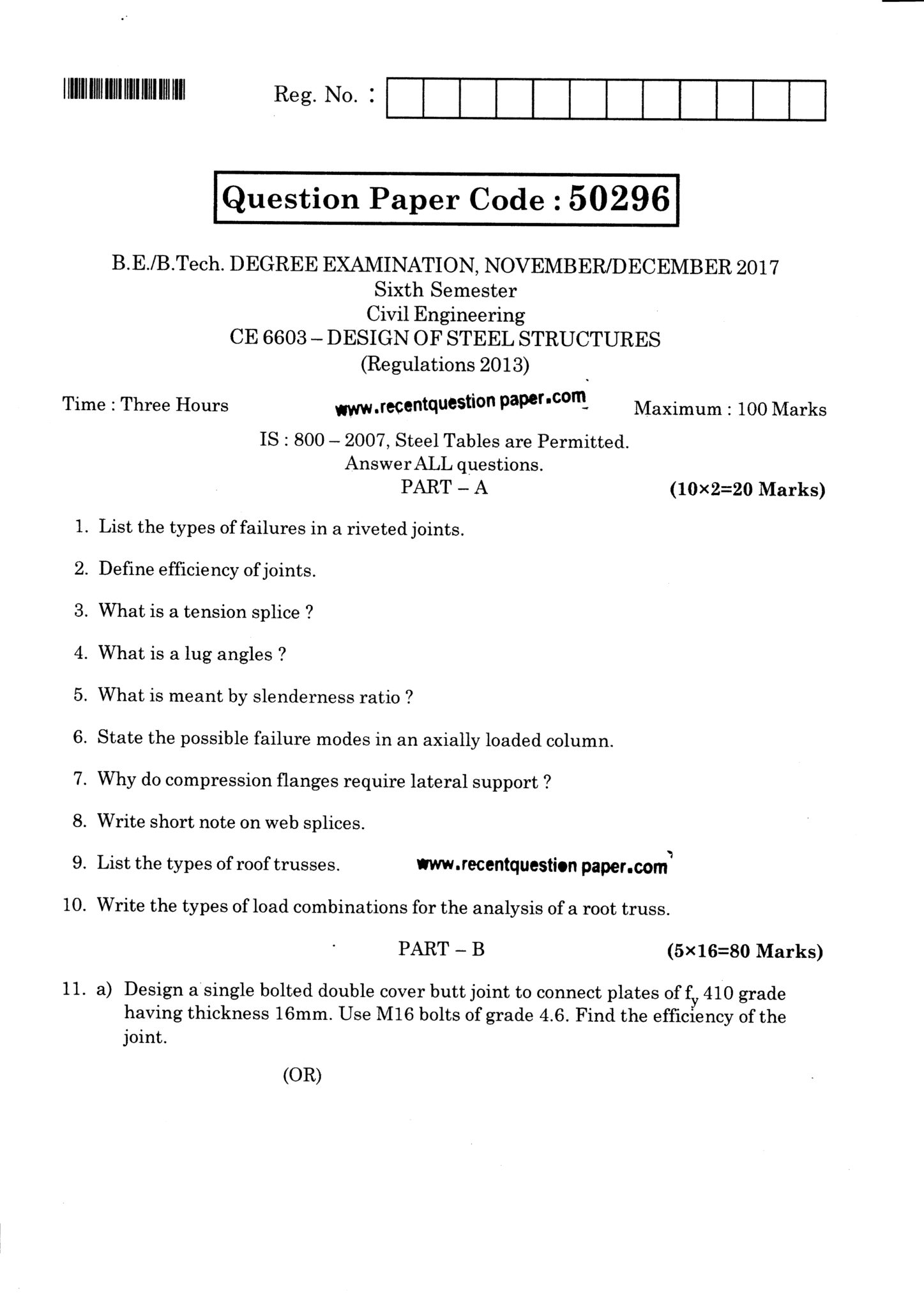 CE6603 Design Of Steel Structures Question Paper Nov/Dec 2017