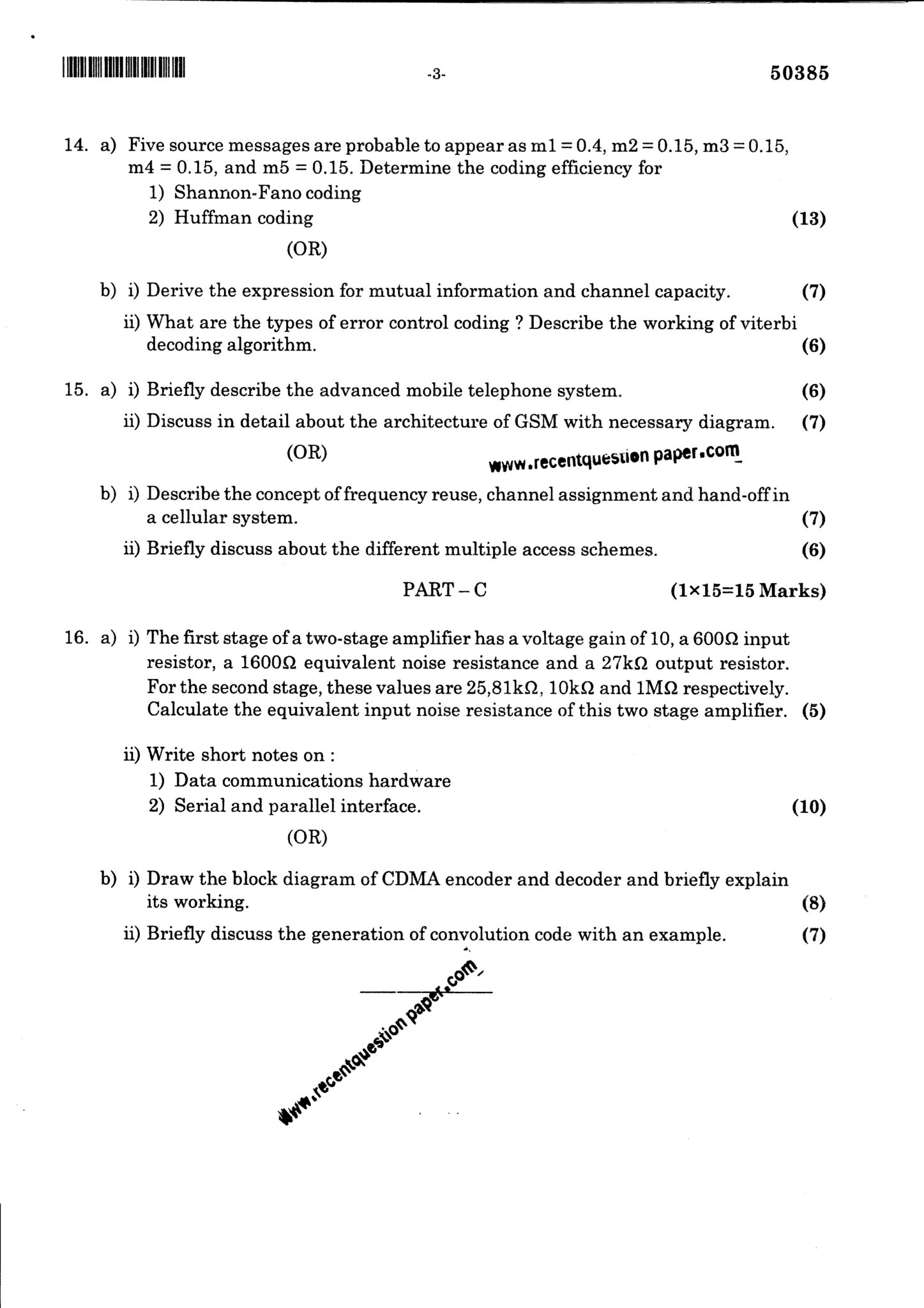 CS6304 Analog And Digital Communication Question Paper Nov