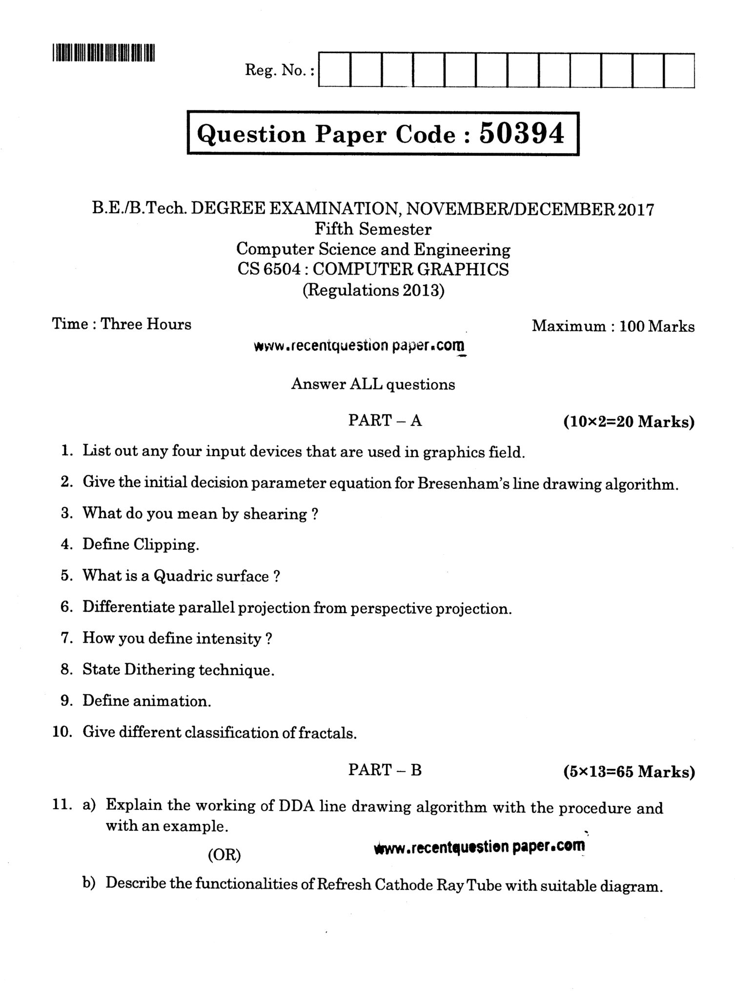 Computer Question Paper 2017 - Quantum Computing