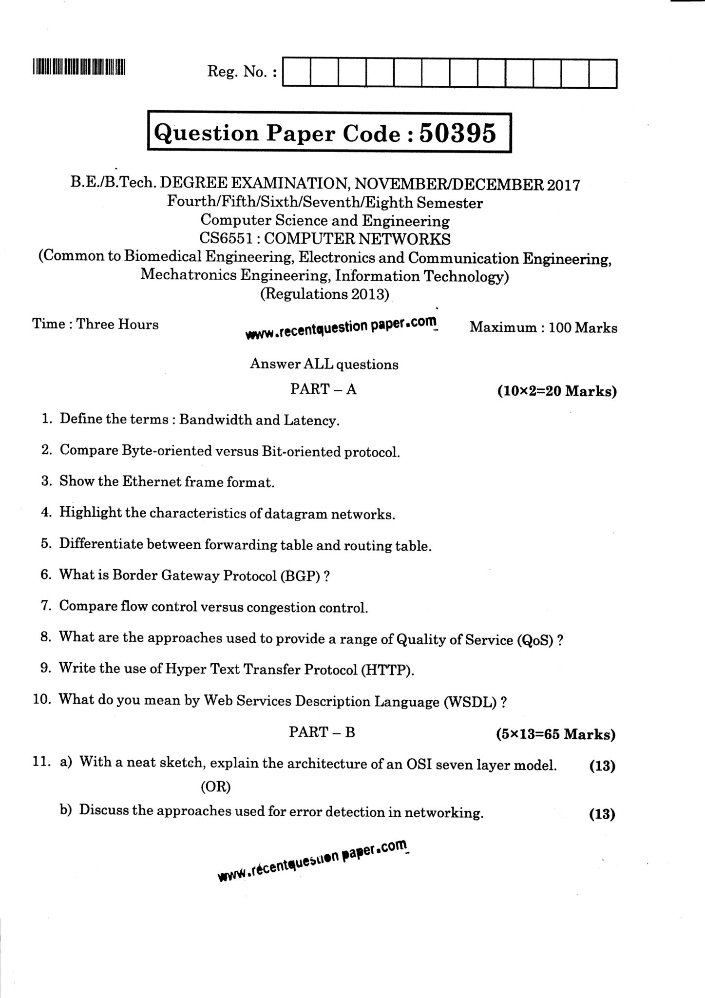 CS6551 Computer Networks Question Paper Nov/Dec 2017