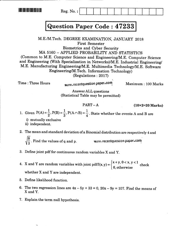 MA5160 Applied Probability And Statistics Jan 2018 Anna University