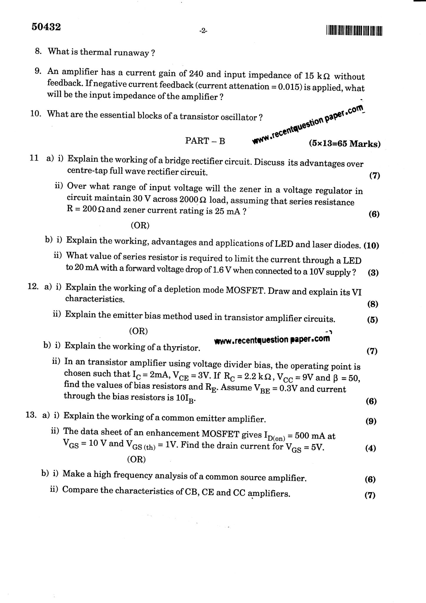 EC6202 Electronic Devices And Circuits Question Paper Nov/Dec 2017