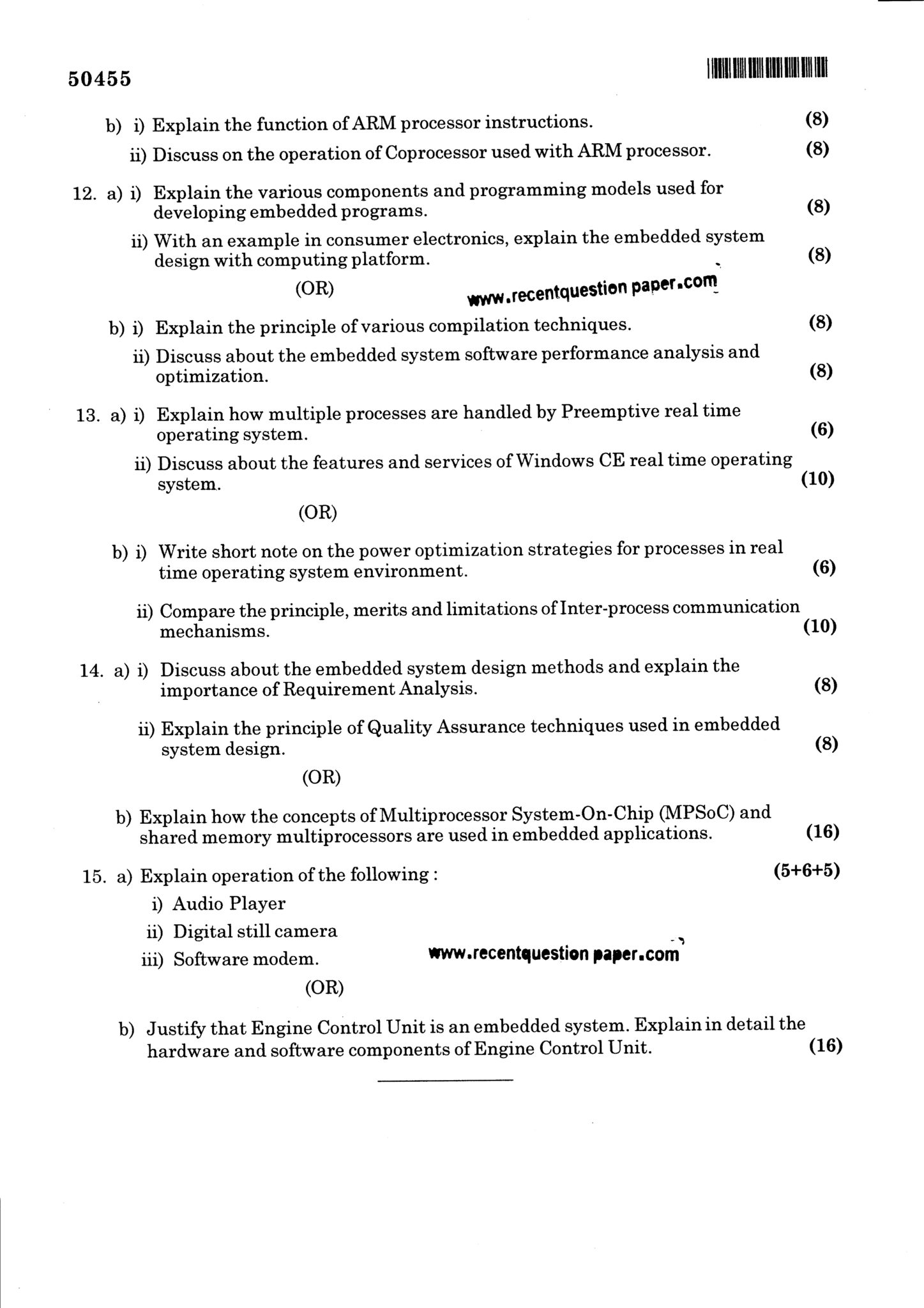 EC6703 Embedded And Real Time Systems Question Paper Nov/Dec