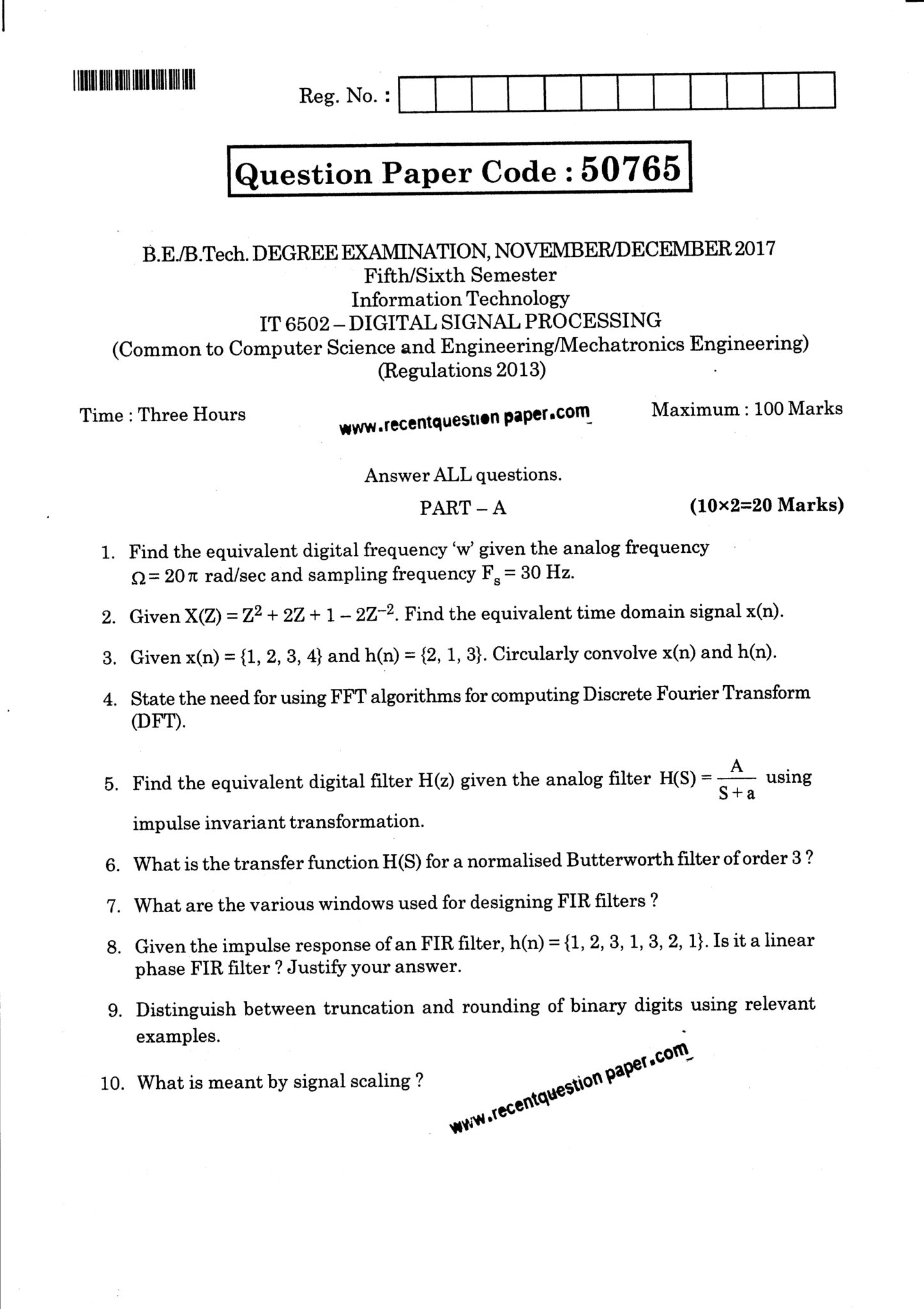 IT6502 Digital Signal Processing Question Paper Nov/Dec 2017