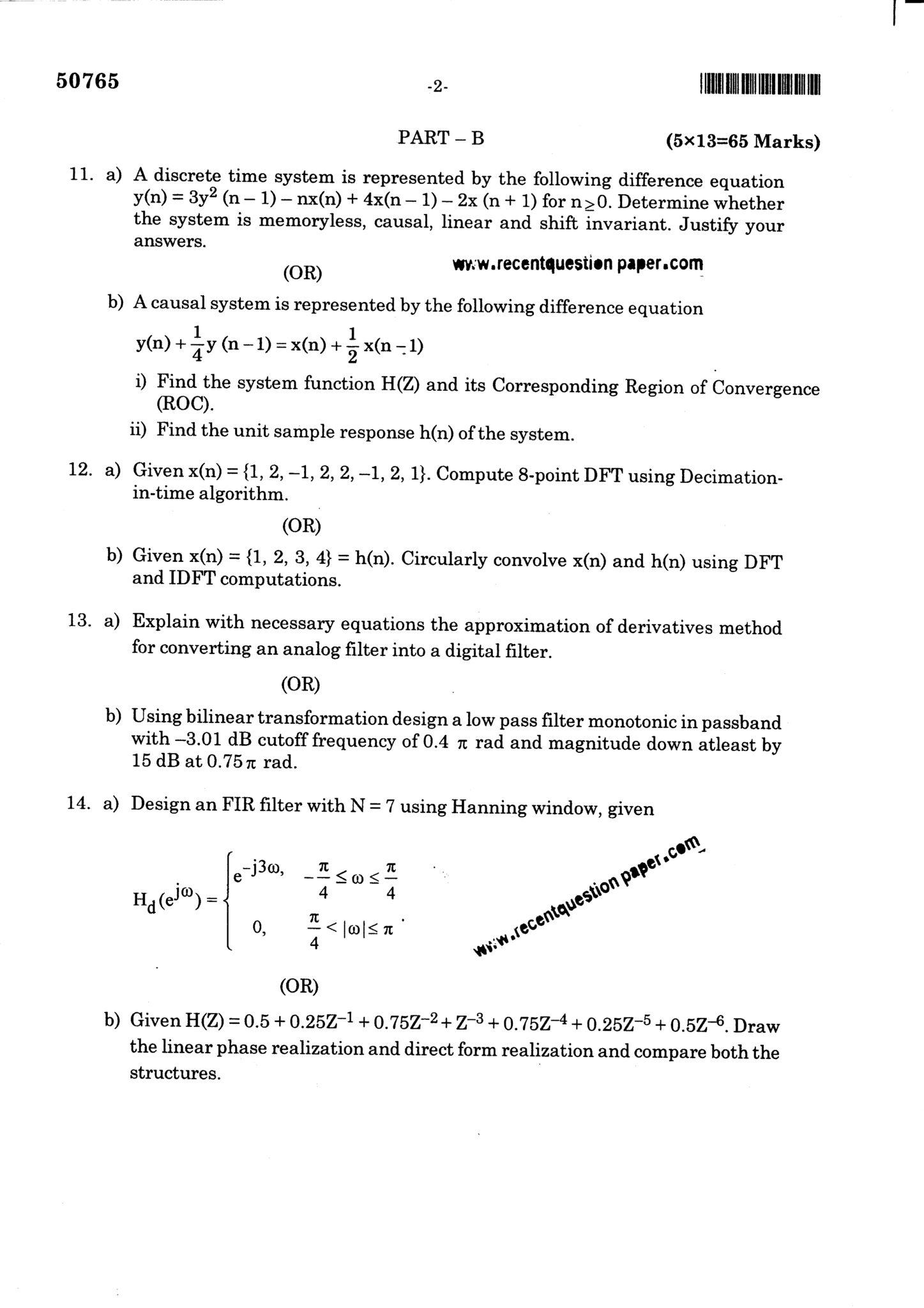 IT6502 Digital Signal Processing university question paper nov dec