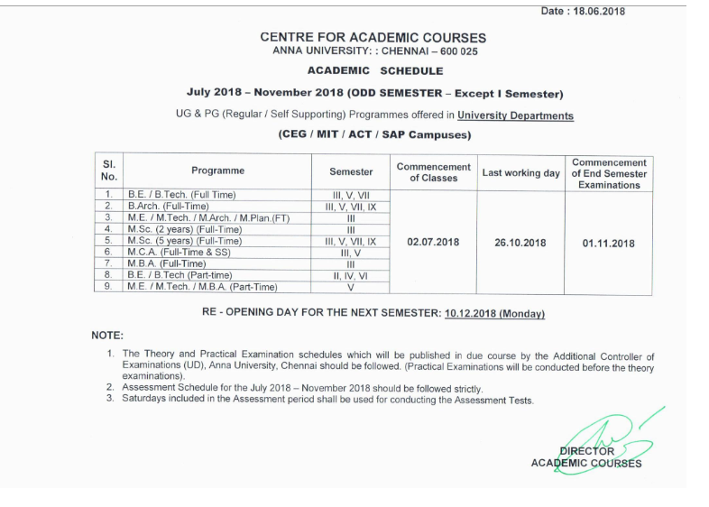 Anna University Exam Timetable Pdf