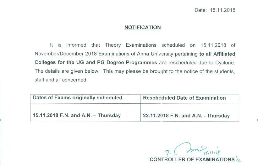 Anna University New Time Table Pdf